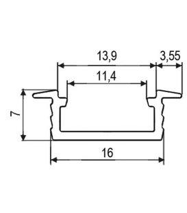 Aliuminio profilis PROF-RAL-GRO įleidžiamas