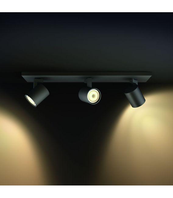 Lubinis šviestuvas RUNNER HUE 3 Black + jungiklis
