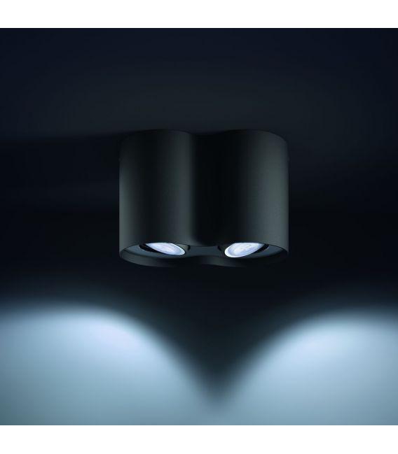 Lubinis šviestuvas PILLAR HUE 2 Black + jungiklis