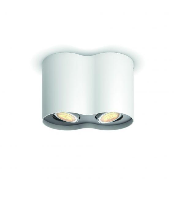 Lubinis šviestuvas PILLAR HUE 2 White + jungiklis