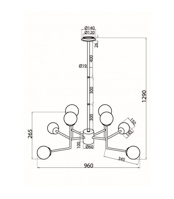 Pakabinamas šviestuvas ERICH 8 MOD221-PL-08