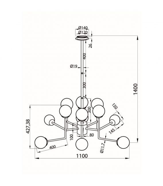 Pakabinamas šviestuvas ERICH 12 MOD221-PL-12