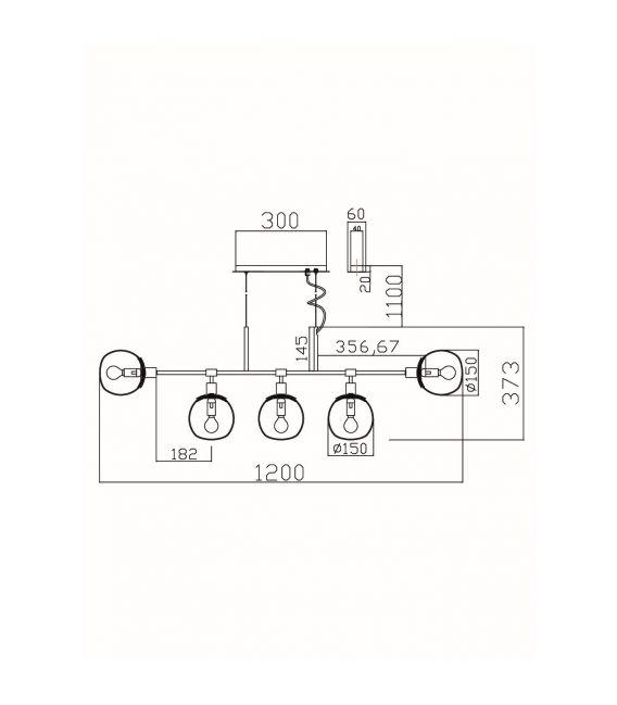 Pakabinamas šviestuvas ERICH 5 MOD221-PL-05-G