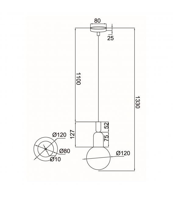 Pakabinamas šviestuvas BALL Blue MOD267-PL-01-BL