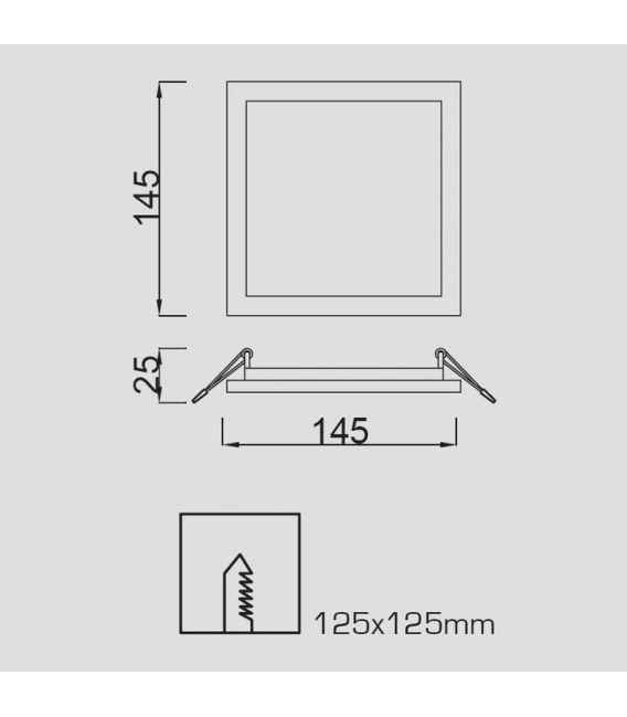 Įmontuojama LED panelė SAONA 12W 14,5x14,5 3000K C0195