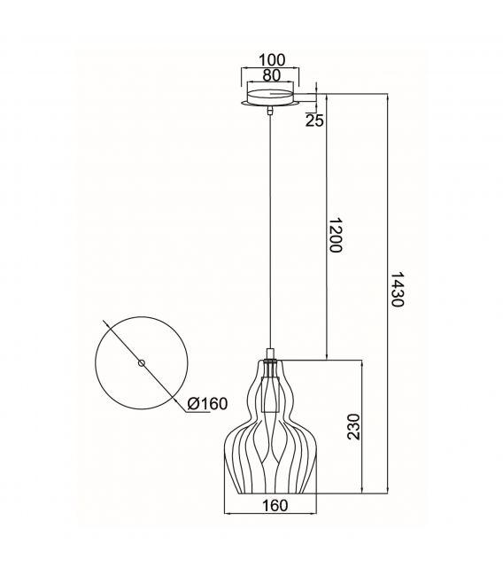 Pakabinamas šviestuvas EUSTOMA Miroir MOD238-PL-01-B