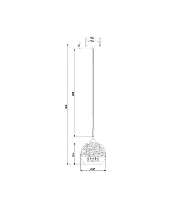 Pakabinamas šviestuvas FERMI Ø30 P140-PL-110-1-N