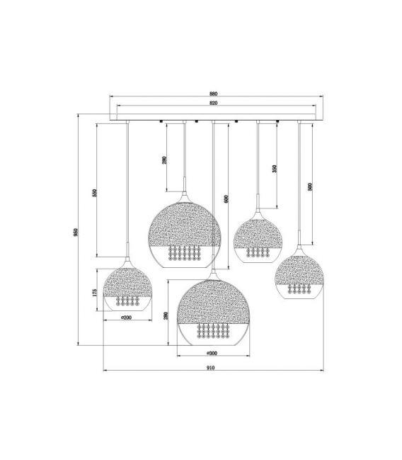 Pakabinamas šviestuvas FERMI P140-PL-170-5-N