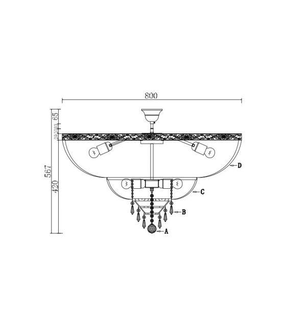 Lubinis šviestuvas PALACE DIA891-CL-14-G