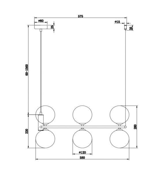 Pakabinamas šviestuvas RING Black MOD013PL-06B