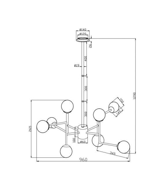 Pakabinamas šviestuvas ERICH 8 Nickel MOD221-PL-08-N