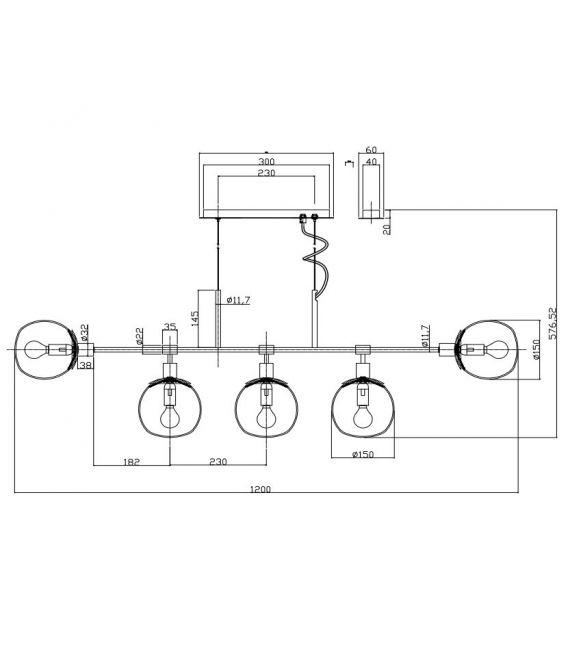 Pakabinamas šviestuvas ERICH 5 Nickel MOD221-PL-05-N