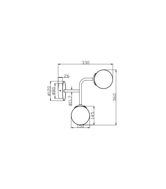Sieninis šviestuvas ERICH 2 Nickel MOD221-WL-02-N