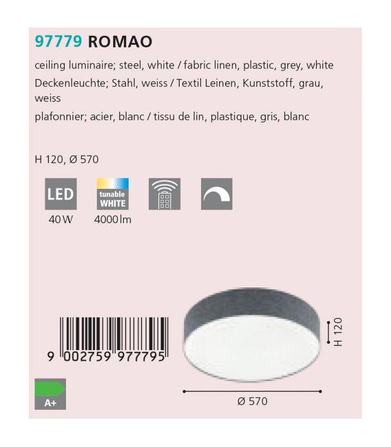 40W LED Lubinis šviestuvas ROMAO Ø57 Grey 97779