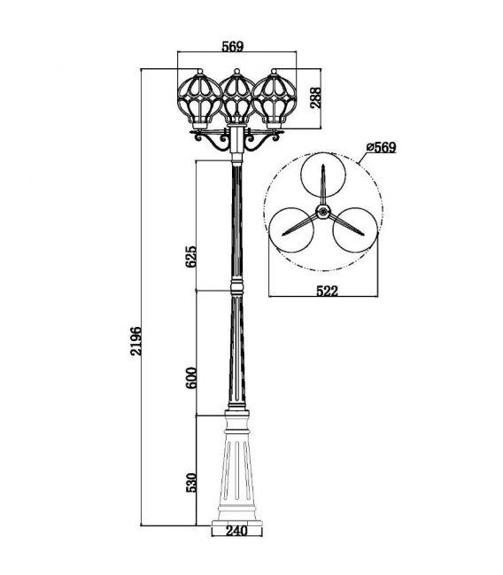 Pastatomas šviestuvas CHAMPS ELYSEES 3 IP54 S110-22-03-R