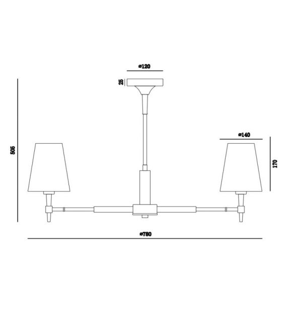 Pakabinamas šviestuvas ZARAGOZA 5 H001CL-05BS