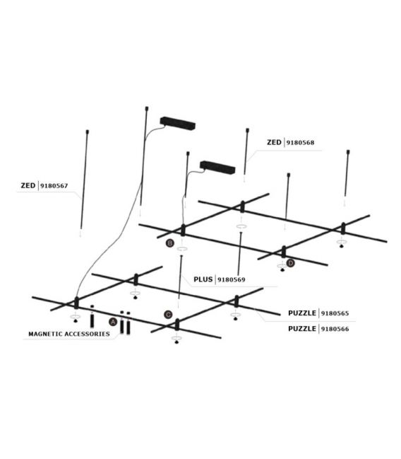 Magnetinė apšvietimo sistema PUZZLE L150 9180566