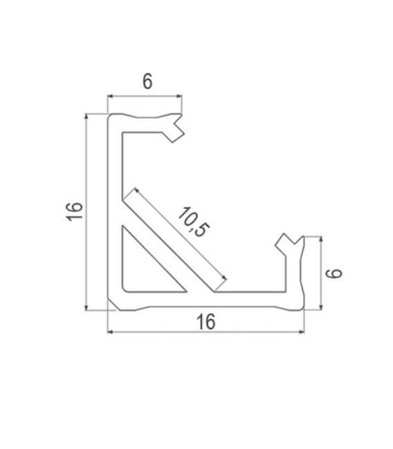LED profilis CORNER 45' 1m Baltas PROF-COR45-1Mw