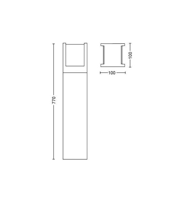 15W LED Pastatomas šviestuvas HUE FUZO H77 IP44 17448/30/P7