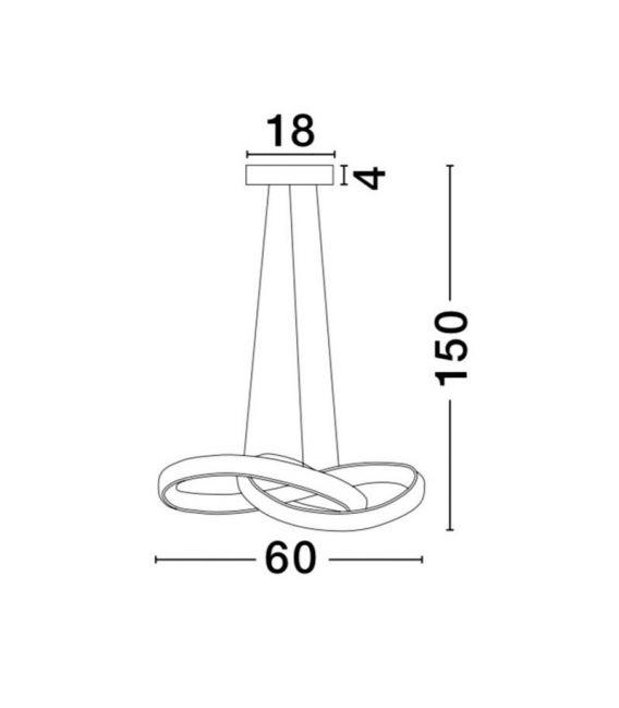 36W LED Pakabinamas šviestuvas ROSS Chrome 9002603