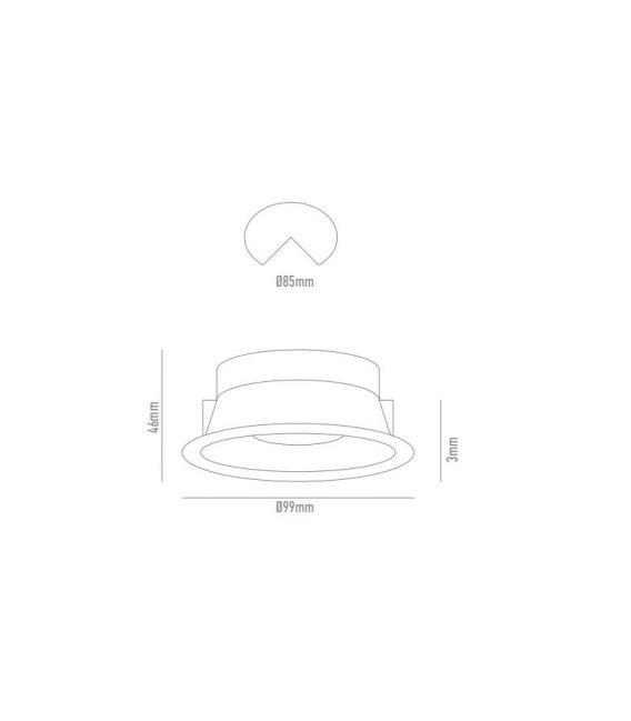 Įmontuojamas šviestuvas NC AROS White NC892L-FW Ø9,9 YLD-026609