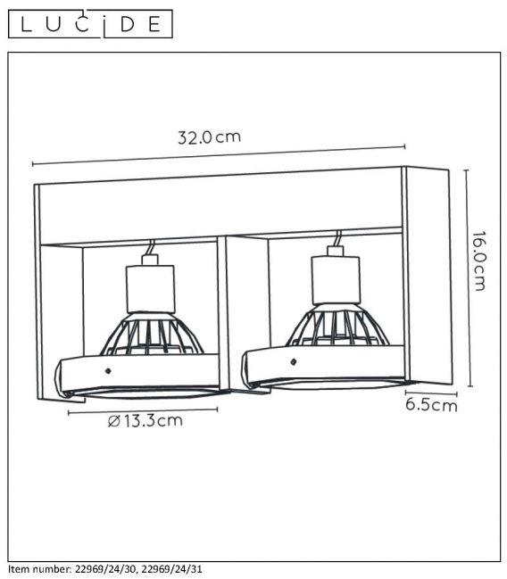 Lubinis šviestuvas GIFRON 2 Black 22969/24/30