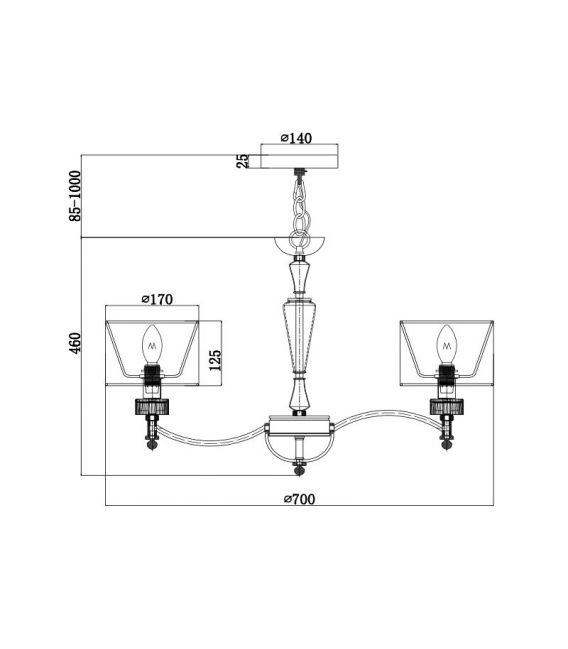 Pakabinamas šviestuvas ALICANTE 6 MOD014CL-06N