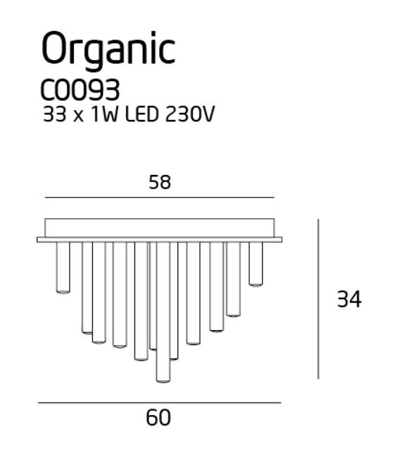 33W LED Lubinis šviestuvas ORGANIC Copper C0093