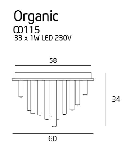 33W LED Lubinis šviestuvas ORGANIC Chrome C0115
