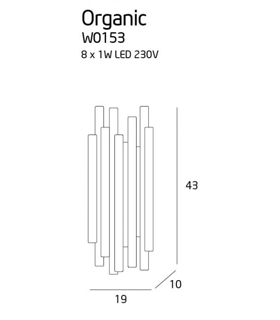 8W LED Sieninis šviestuvas ORGANIC Copper W0153