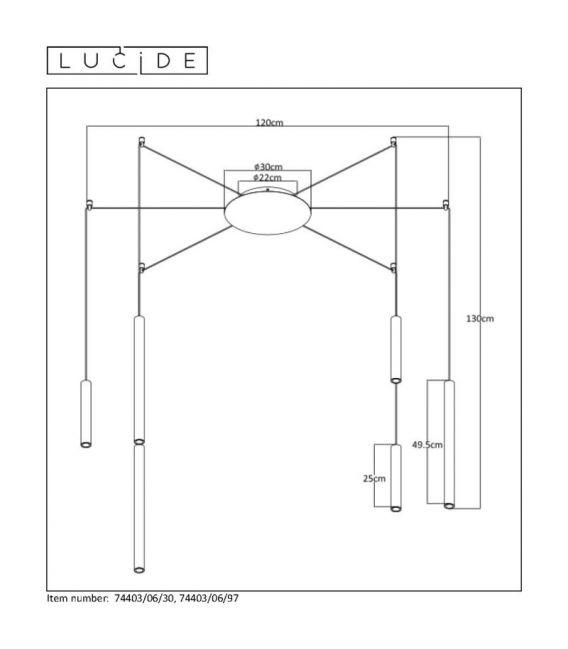 24W LED Pakabinamas šviestuvas LORENZ 6 Black Dimeriuojamas 74403/06/30