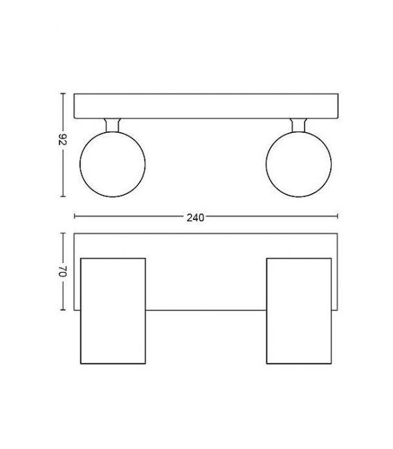 Lubinis šviestuvas KOSIPO 2 Black 50592/30/PN