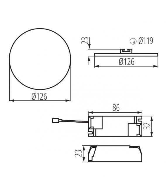 10W LED Įmontuojama panelė AREL Round IP65 29585