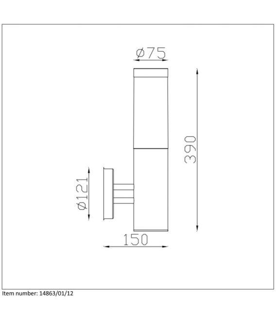 Sieninis šviestuvas KIBO IP44 14863/01/12