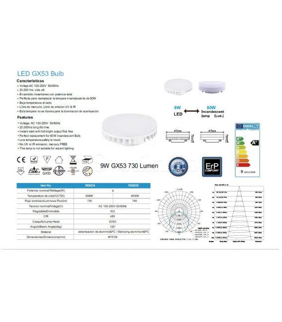 LED LEMPA 9W GX53 3000K R09224
