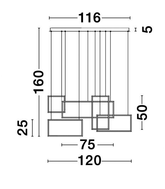 80W LED Pakabinamas šviestuvas CORNICE Dimeriuojamas 9142765