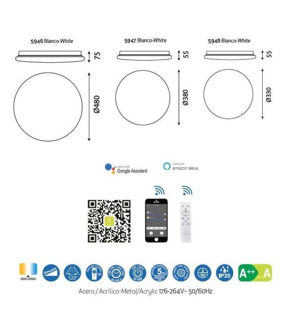 80W LED Lubinis šviestuvas ZERO SMART Dimeriuojamas 5946