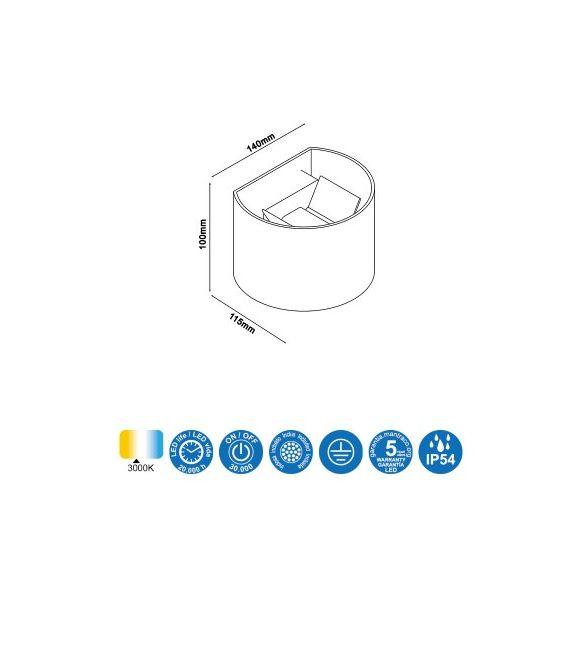12W LED Sieninis šviestuvas DAVOS Sand White IP54 6523