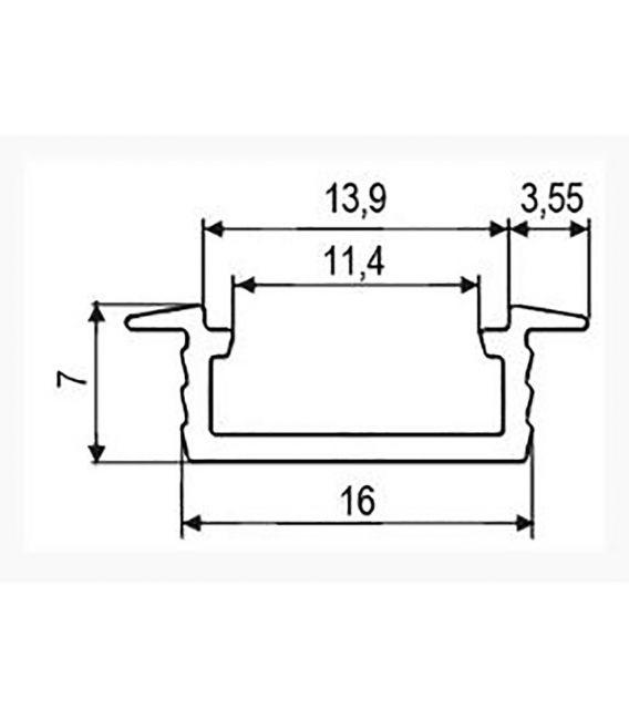 LED profilis PROF-151 įleidžiamas 1 metras PROF-151-1Mb