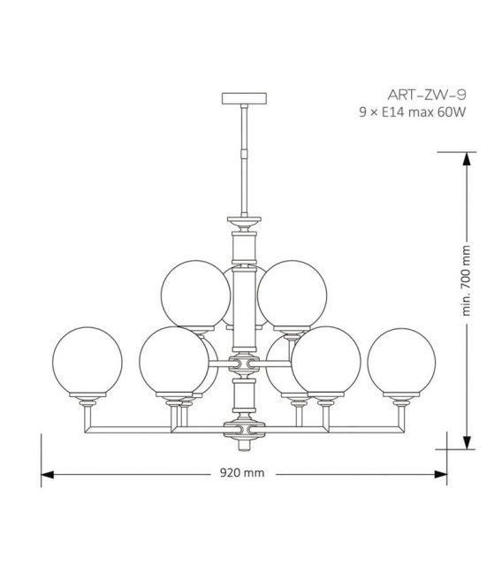 Pakabinamas šviestuvas ARTU Gold ART-ZW-9(ZM)G