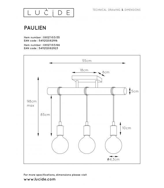 Pakabinamas šviestuvas PAULIEN 3 Pink 08127/03/66