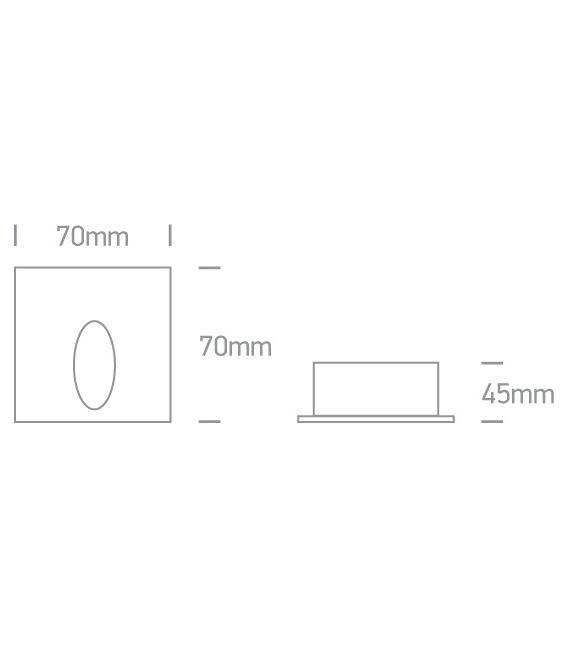 3W LED Įmontuojamas šviestuvas Grey IP54 3000K 68032/G/W