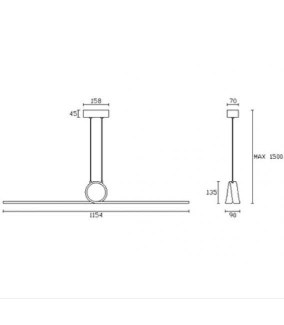 Pakabinamas šviestuvas CURL 8 LED dimmer